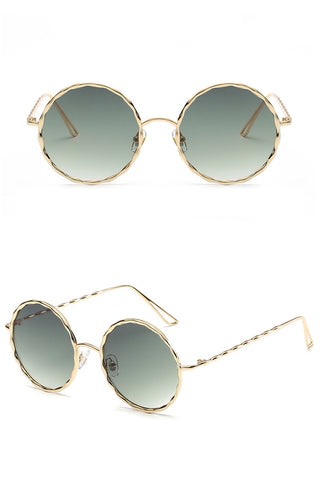 Waved Metal Round Sunglasses