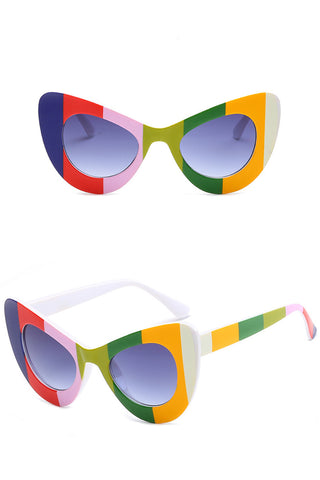 Rainbow Stripe Cat Eye Sunglasses