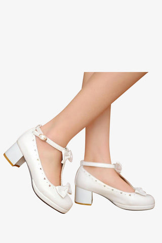 Lolita White T-Strap Shoes