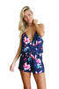 Flowers Printed V-Neck Navy Romper