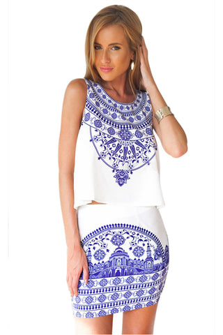 Porcelain Print Co-Ord Skirt Set