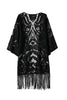Black Long Sleeve Lace Fringed Kimono