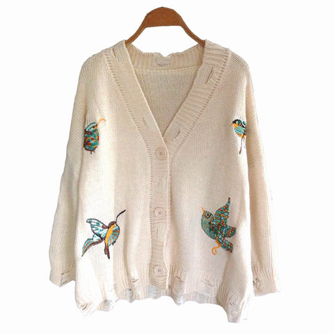 Bird Embroidery Ripped Cardigan