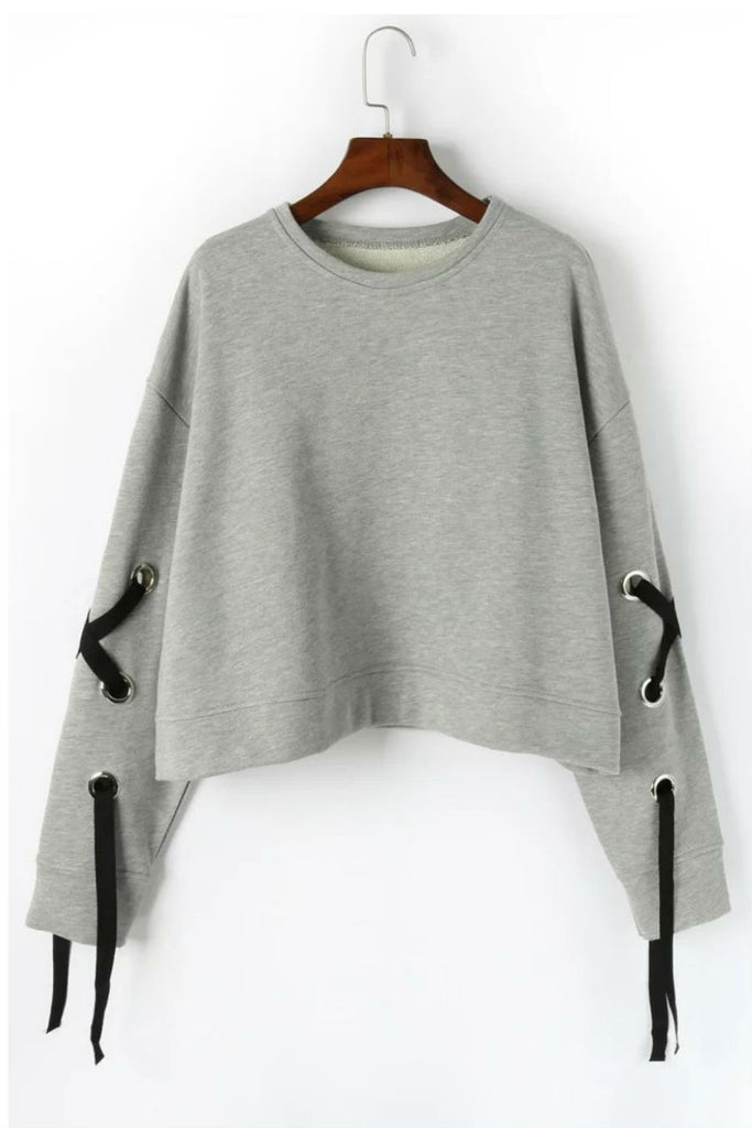 Sleeve Bandage Gray Sweatshirt