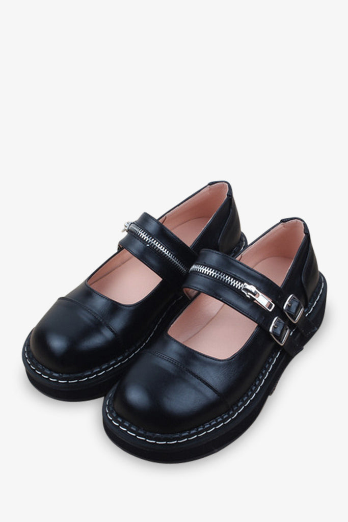 Retro Zippered Clog In Black