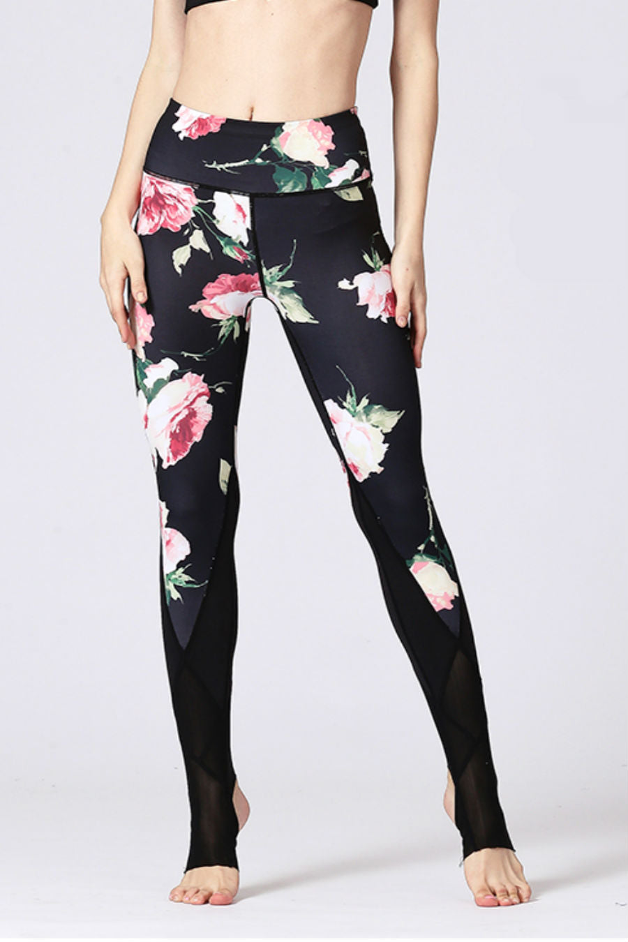Black Flower Barre Stirrup Leggings