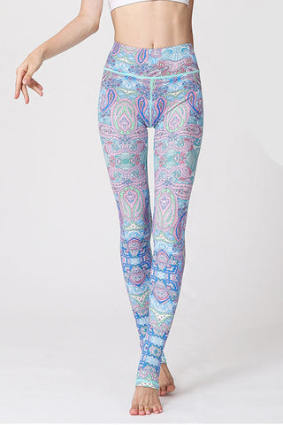 Blue Paisley Barre Stirrup Leggings