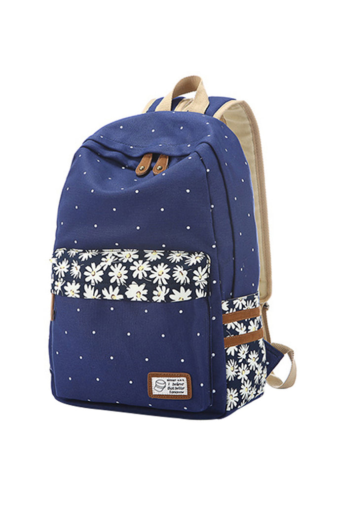 Polka Dot And Floral Printed Backpack In Navy