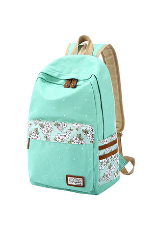 Polka Dot Floral Mint Backpack