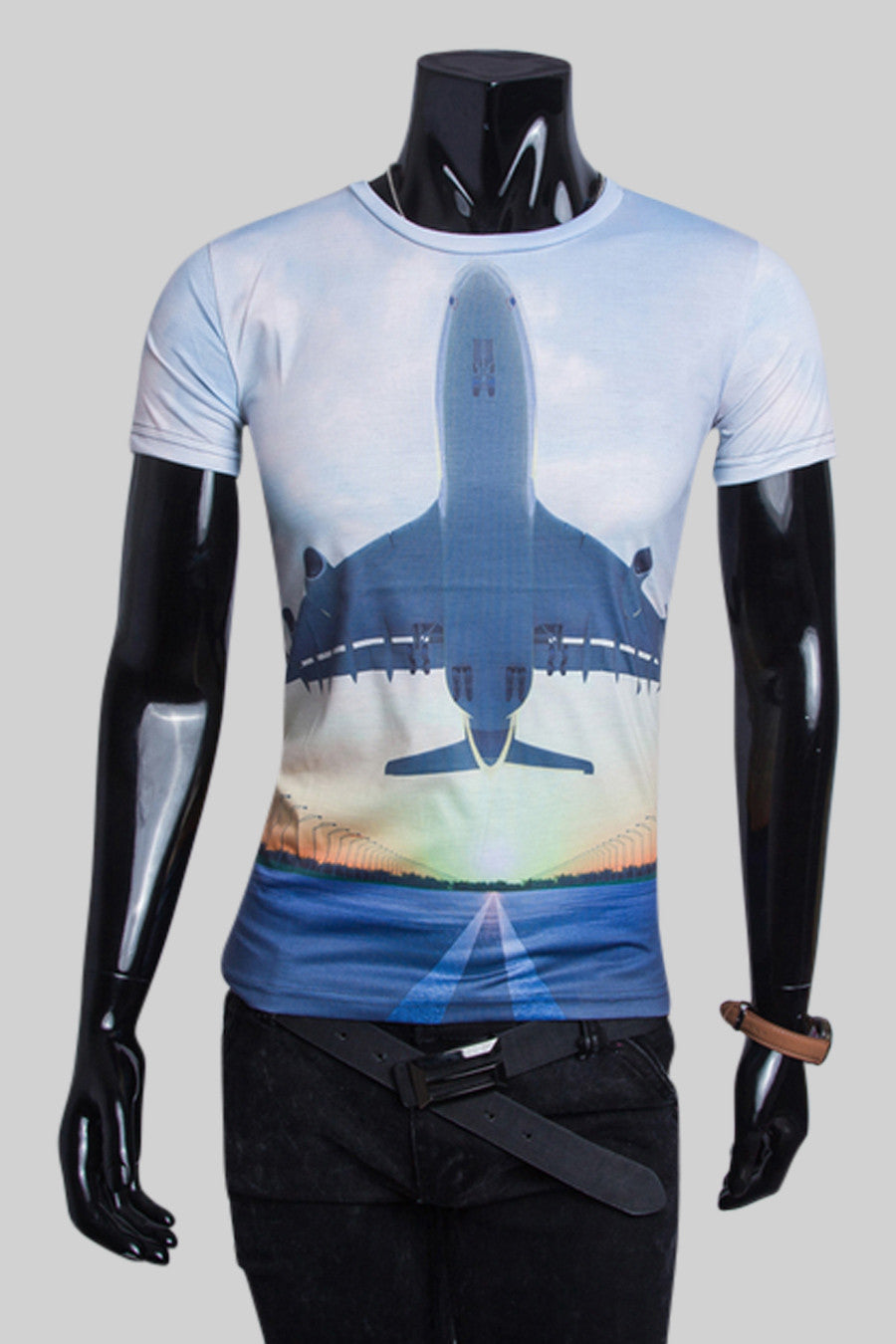 Airplane Printed Slim Fit T-shirt