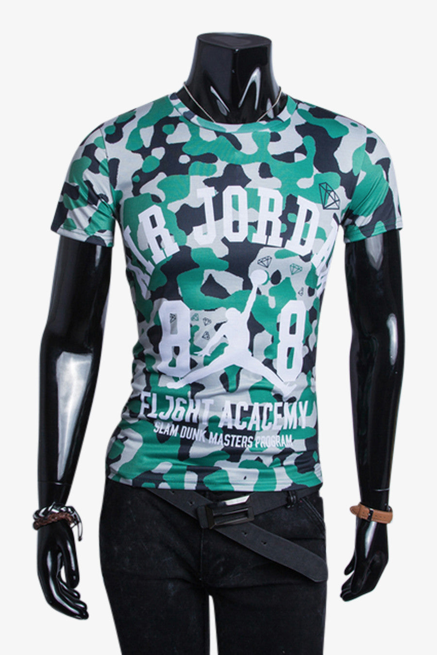 Camo Green Black Slim Fit Tee