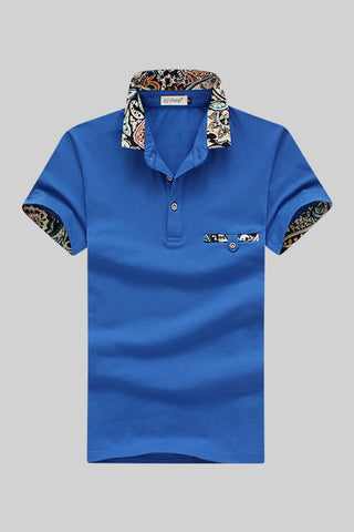 Blue Inserted Print Polo T-shirt