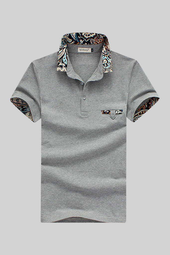 Grey Inserted Print Polo T-shirt