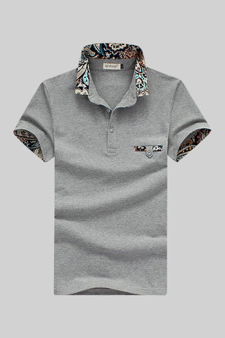 Gray Inserted Print Polo T-shirt