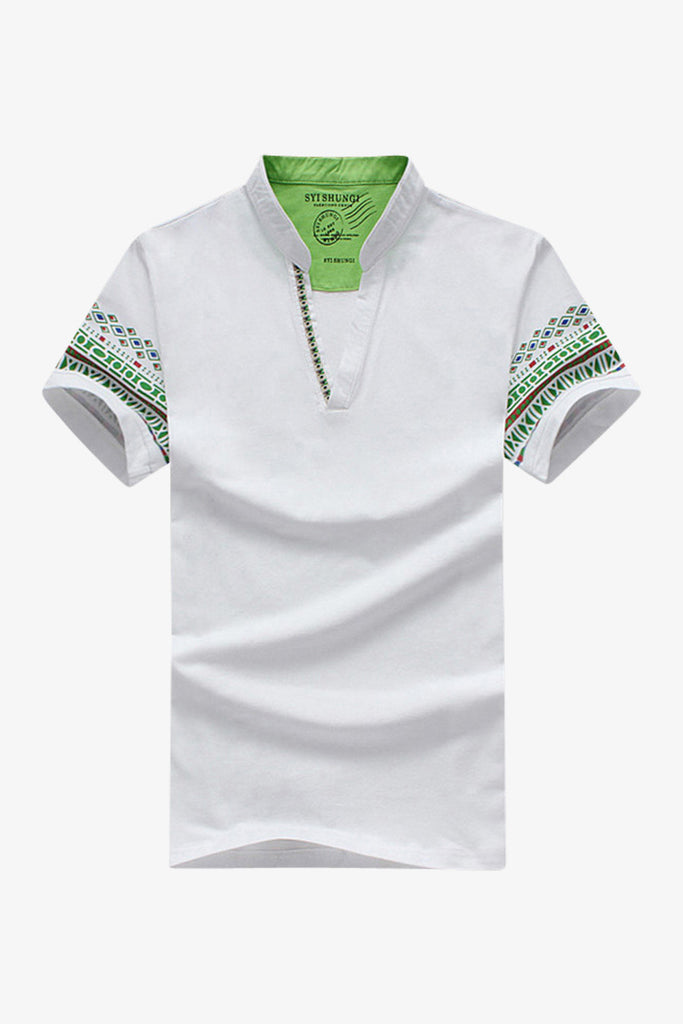 White V-Neck Ethnic Printed Tee