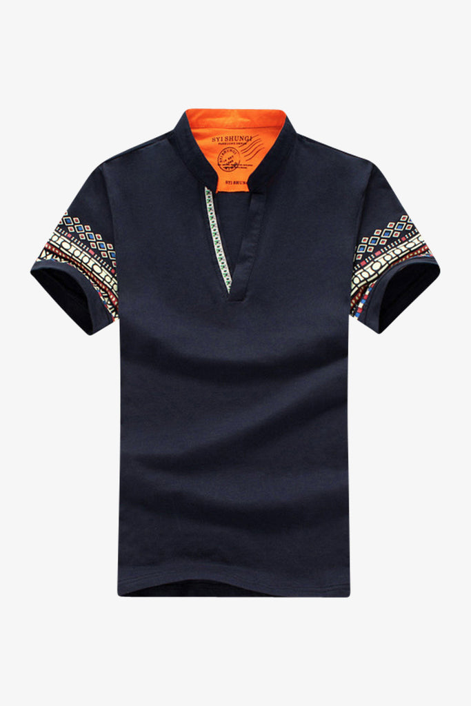 Navy  V-Neck Ethnic Printed T-shirt