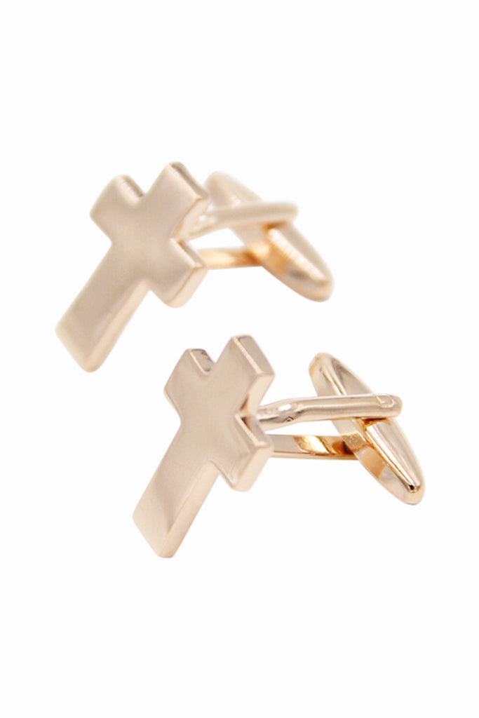 Cross Wedding Cufflinks In Gold