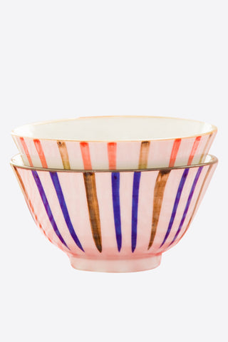 Decorative Stripes Painted Rice Bowls