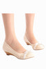 White Round Toe Lace Wedges