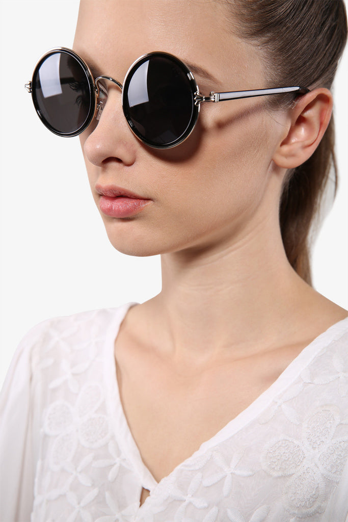 Retro Shiny Black Round Sunglasses