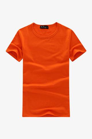 Slim Fit Round Neck Short Sleeve T-Shirt In Orange
