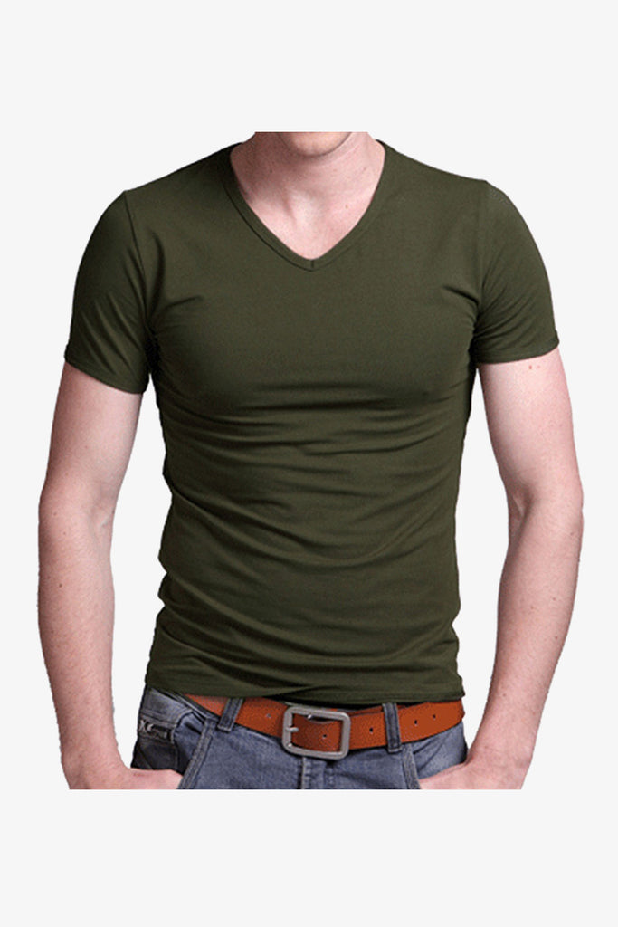 Slim Fit V-Neck Short Sleeve T-Shirt In Green