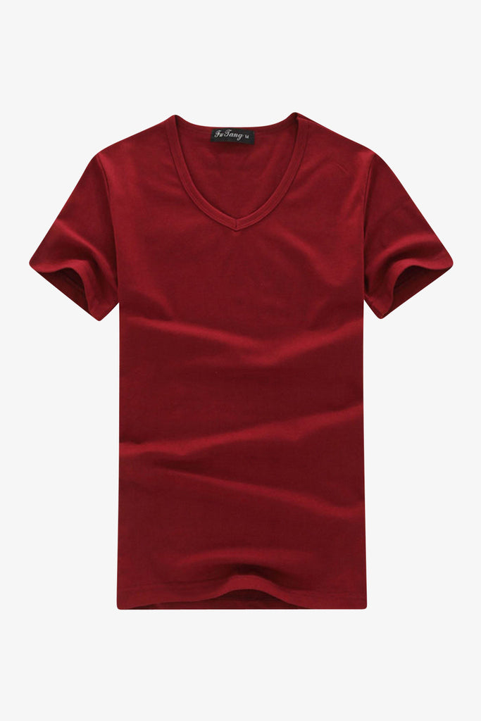 Slim Fit V-Neck Burgundy T-shirt