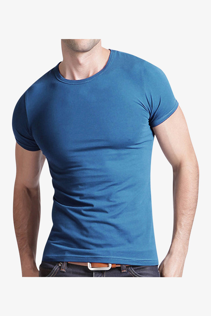 Slim Fit Round Neck Short Sleeve T-Shirt In Blue