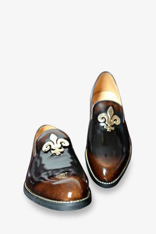 Elegant Patent Leather Loafers In Gradient Bronze