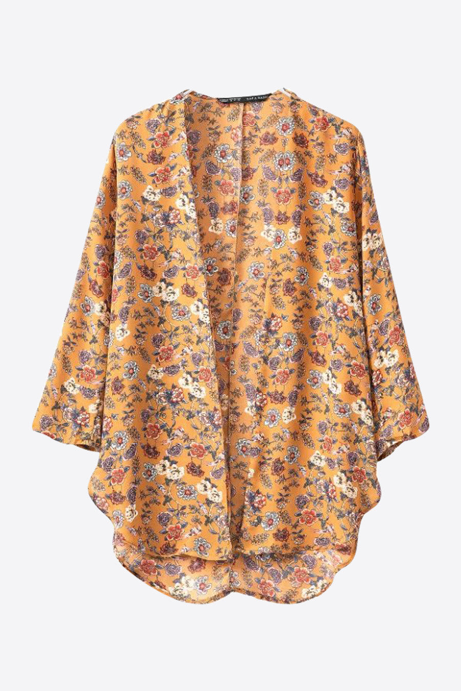 Retro Orange Flower Printed Kimono