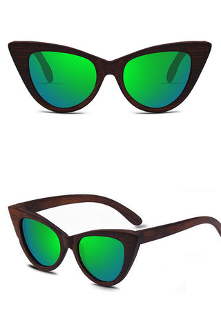 Bamboo Cat-eye Vintage Sunglasses