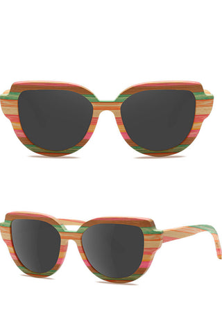 Bamboo Cat-eye Retro Sunglasses