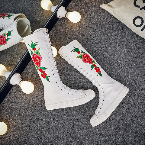 Red Embroidery High Boots