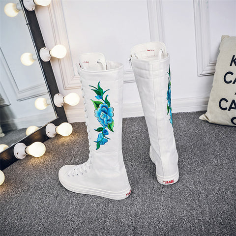 Flower Embroidery Knee Boots