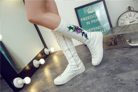 Floral Embroidery Knee Boots