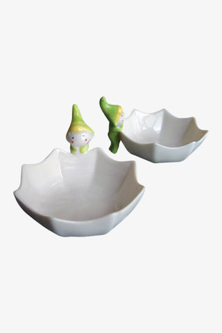 Green Elf Ceramic Bowls In White