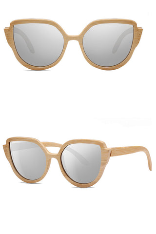 Cat-eye Polaroid Wood Sunglasses
