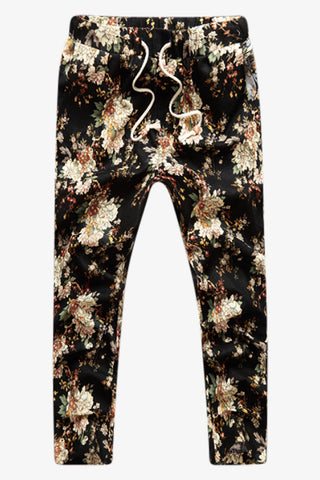 Floral Print Tie Front Pants In Black