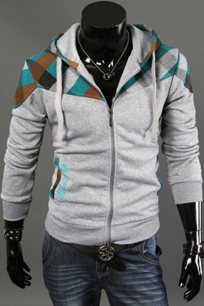 Plaid Splicing Hoodie Jacket In Light Gray