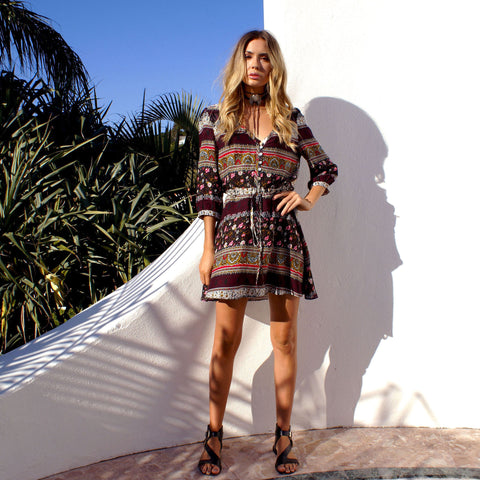 3/4 Sleeve Paisley Boho Dress