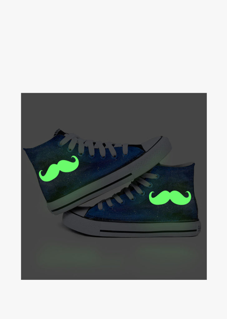 Glow In The Dark Canvas Sneakers With Moustache In Blue