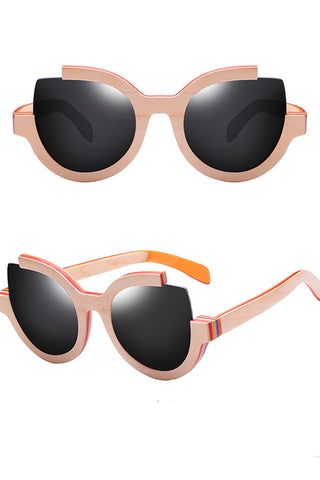 Bamboo Cat-eye Polaroid Sunglasses