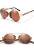 Retro Tint Round Bamboo Glasses
