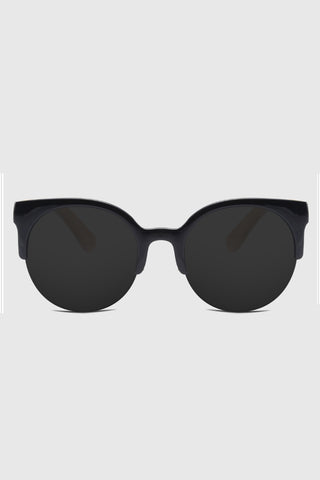 Browline Frame Mirrored Lenses Sunglasses