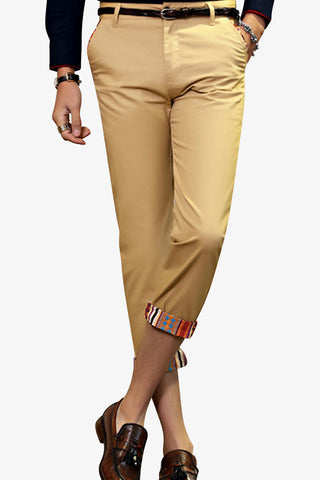 Slim Fit Capri Pants In Tan