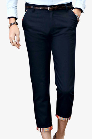 Slim Fit Capri Pants In Navy