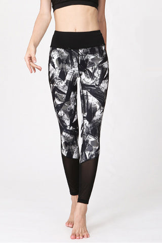 Black Print Mesh Leggings