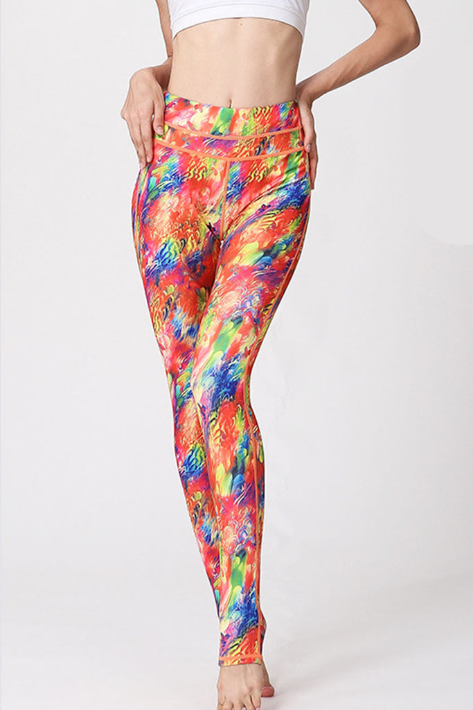 Digital Red Print Leggings