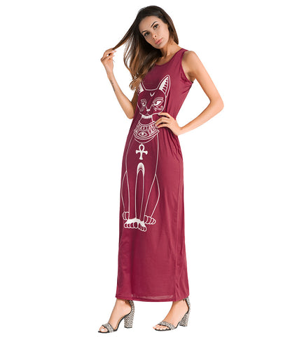 Sublime Sphynx Cat Maxi Dress