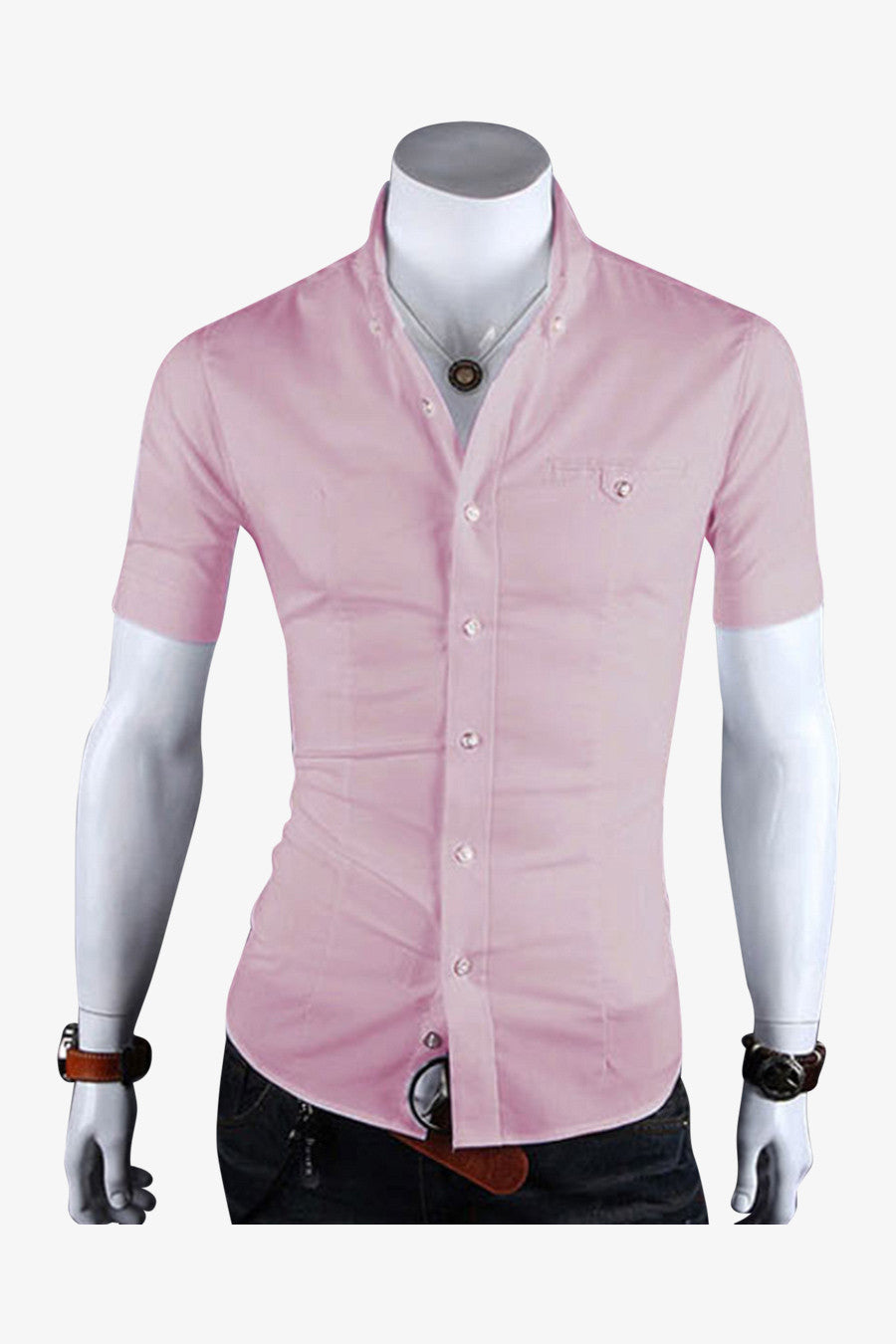 Slim Fit Short Sleeve Shirt In Pink